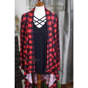 Buffalo Plaid Soft Knit Cardigan With Elbow Patch